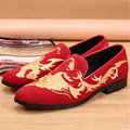 Vintage Embroidery Men Suede Loafers Slip On Flats Red Prom Wedding Dress Shoes Mens Comfortable Espadrilles Creepers Mocassin