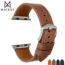 цена на MAIKES Genuine Leather Watch Strap For Apple Watch Band 44mm 40mm 42mm 38mm All Series 4/3/2/1 All Models iWatch Watchband