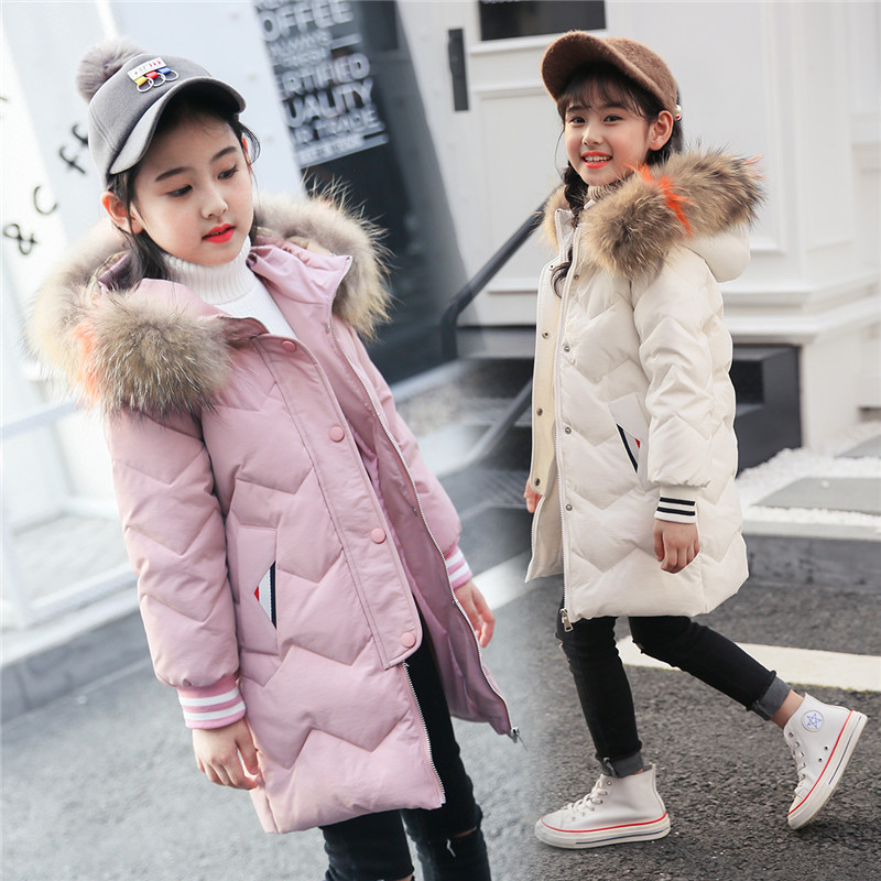 Winter Coat for Girls Clothing 2018 New Hooded Fur Collar Long Style Children Outerwear For 6 8 10 12 Years Kids Down Jacket tnlnzhyn women s clothing new new winter big yards women jacket coat hooded fur collar cotton thicken long female outerwear wu03