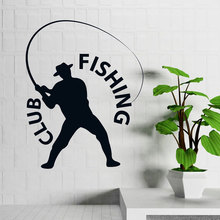 Fisherman Hobby Man with Hat  Wall Stickers Home Decor Living Room Vinyl Art Removable Decoration Fishing Club DecalsLY1676