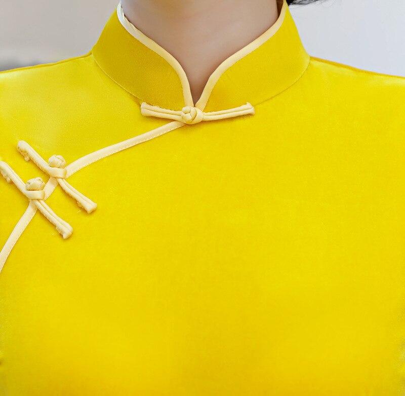 Vestidos 2018 Cheongsam Corta Chino Manga Maxi Señora Moda amarillo Qipao Verde Vestido Velour Verde Long Estilo Slim Womens 6qExr16w