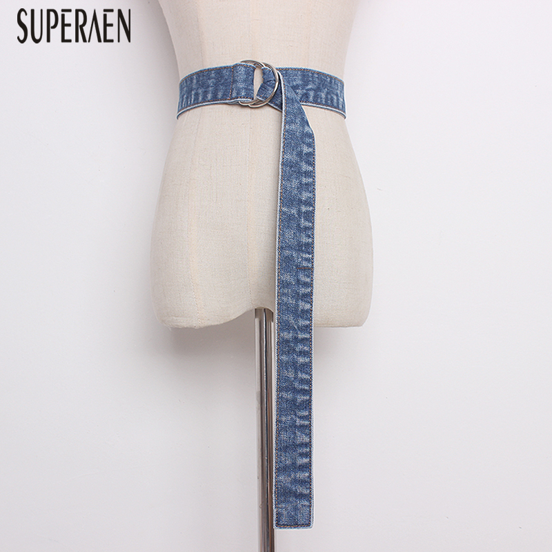 SuperAen Denim Belt Spring And Summer 2019 New Fashion Casual Wild Women Belt Decorative Solid Color Ladies Belt
