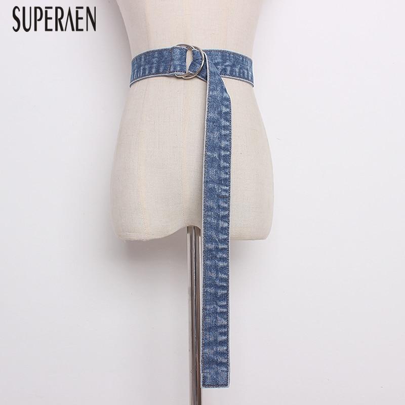 SuperAen Denim Belt Spring And Summer 2019 New Fashion Casual Wild Women Belt Decorative Solid Color Ladies Belt