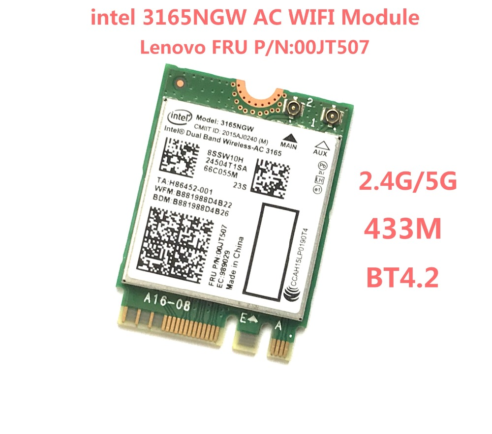 Dual Band Wireless-AC 3165 NGFF Intel <font><b>3165NGW</b></font> M.2 802.11ac WiFi 433Mbps WLAN Card+Bluetooth 2.4G/5Ghz Network For Lenovo Laptop image