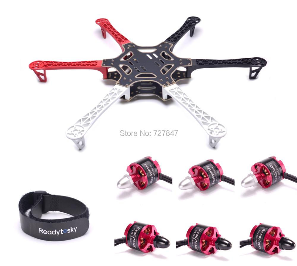 F550 Hexa Rotor Air Frame FlameWheel Kit 550 mm 6pcs 2212 920KV Motor battery belt for