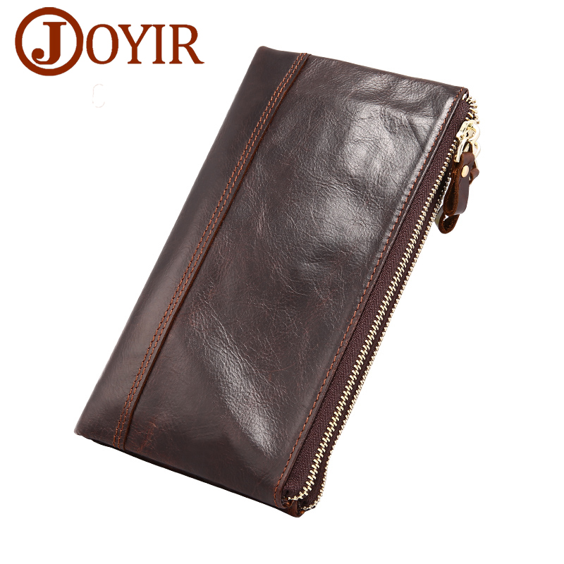 JOYIR Brand Men Wallets Genuine Leather Men Long Clutch Wallet Double Zipper Male Purse Card Holder Money Coin Purses luxury brand women wallets business wallet long designer double zipper leather purses id card holder purse phone case clutch