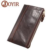 JOYIR Brand Men Wallets Genuine Leather Men Long Clutch Wallet Double Zipper Male Purse Card Holder Money Coin Purses