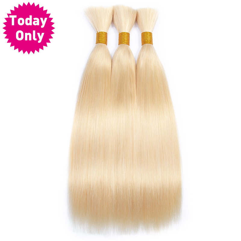 TODAY ONLY Blonde Peruvian Hair Bundles Straight Hair Extensions 613 Bundles Human Braiding Hair Bulk No Weft Remy