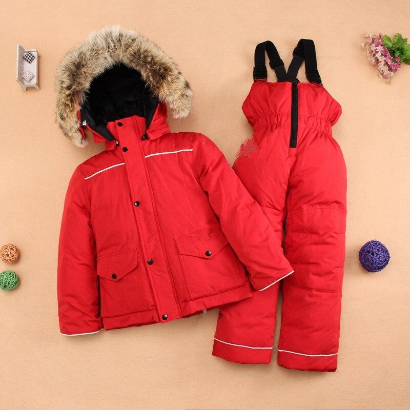 2 шт. Толстая детская пуховая куртка + теплый комбинезон с капюшоном зимний комбинезон для утка вниз Новинка 2017 года зима младенец мальчик Ко