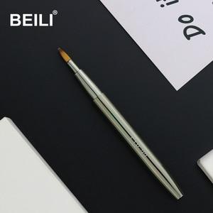 Кисти для макияжа BEILI 22 #, серебристые, металлические, с короткой ручкой, мягкие, синтетические, для губ, косметические, выдвижные, 1 шт.