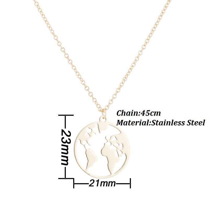 2019 nowego świata mapa wisiorek naszyjniki dzień ziemi Wanderlust spersonalizowana biżuteria metalowa na świeżym powietrzu moda naszyjnik prezent dla kobiet Man