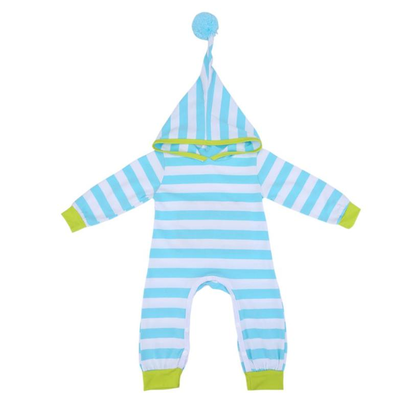 Spring Autumn Long Sleeve Romper Baby Boys Girls Blue Green Striped Hooded Cotton Jumpsuit