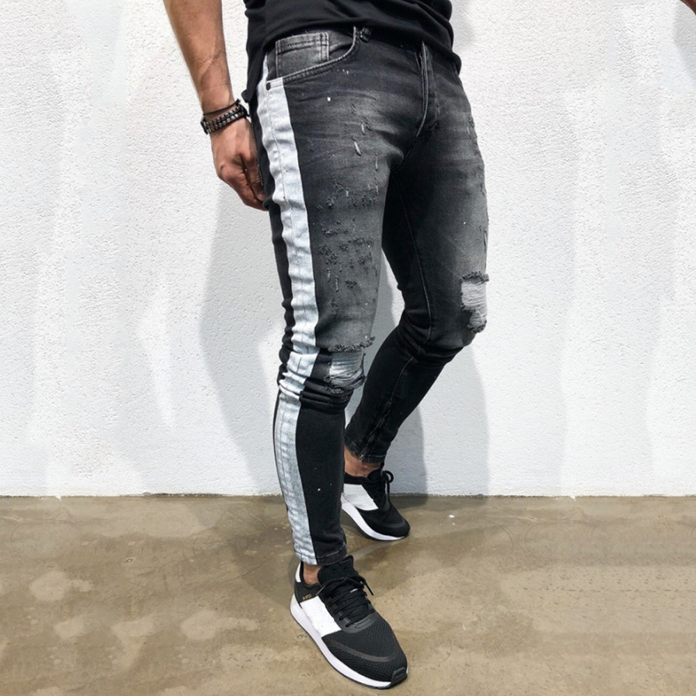 New Fashion Autumn Men Casual Jeans Pencil Pants High Quality Men's Skinny Street Hip Hop Holes Lightweight Cotton Jeans