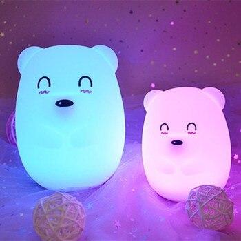 цена на Cartoon Silicone Bear LED Night Light Touch Sensor 9 Colors Desk Table Lamp Bedroom Bedside Lamp for Children Kids Baby Gift