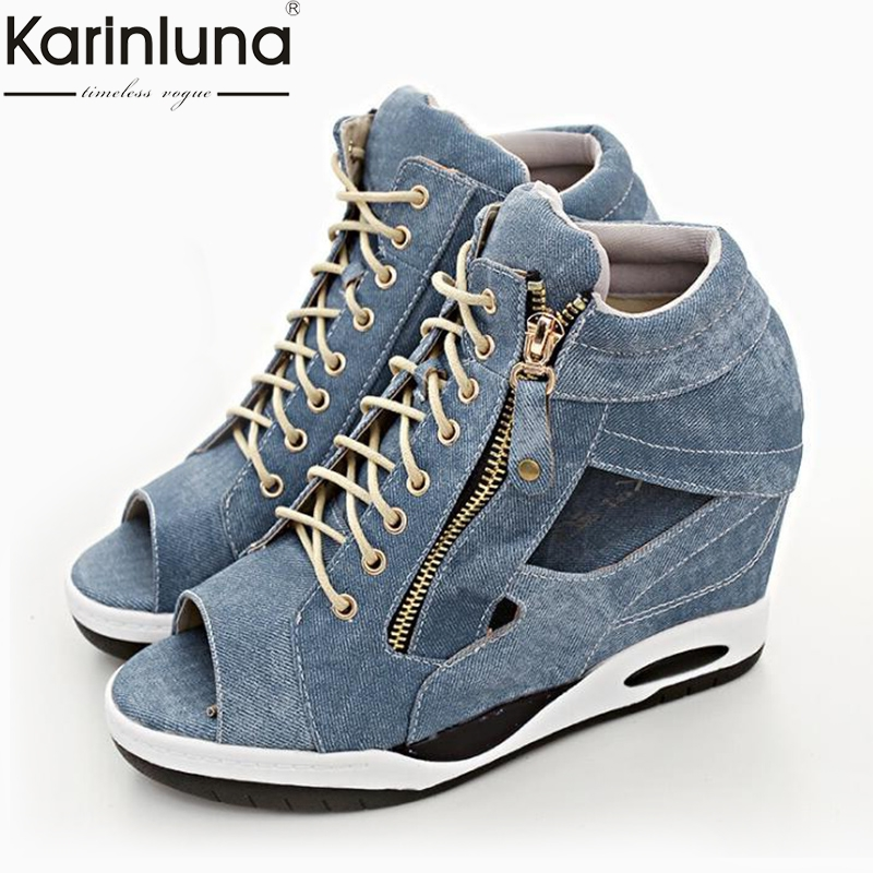 Fashion Denim Ladies Height Increasing Zip Hollow Corss Tied Women Shoes Woman Casual Party Ol Summer SandalsFashion Denim Ladies Height Increasing Zip Hollow Corss Tied Women Shoes Woman Casual Party Ol Summer Sandals
