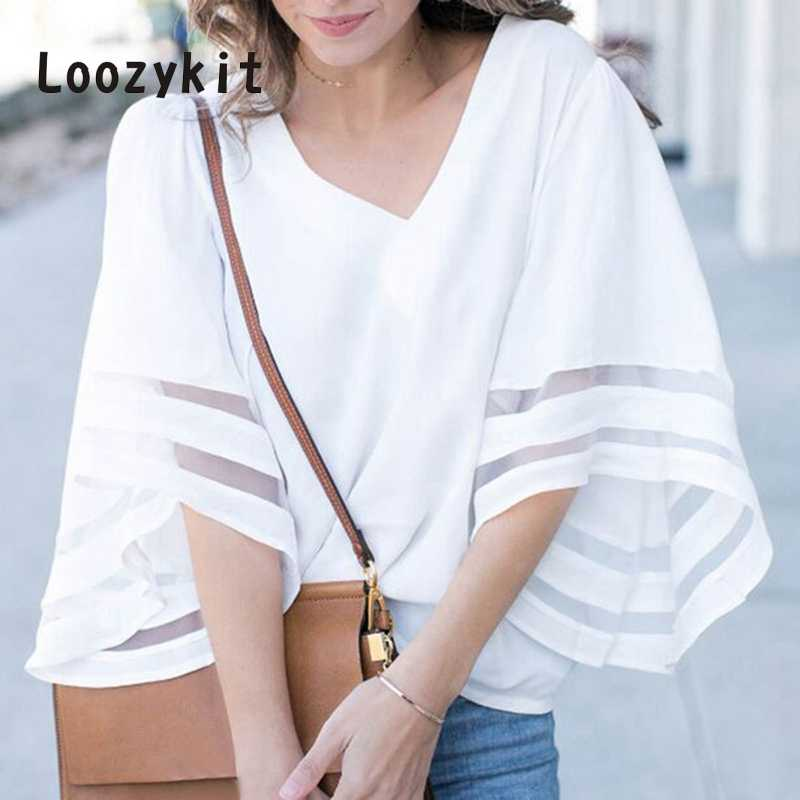 LOOZYKIT 5XL زائد حجم الخامس الرقبة مضيئة كم شبكة خليط قمصان الصيف عارضة زائد حجم البلوزات الأبيض بلوزات من الشيفون Blusas