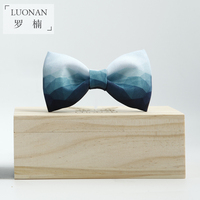 Original High Quality Handmade Male Groom Bow Tie Colorful Blue Gradient Lattice Butterfly Gift Box