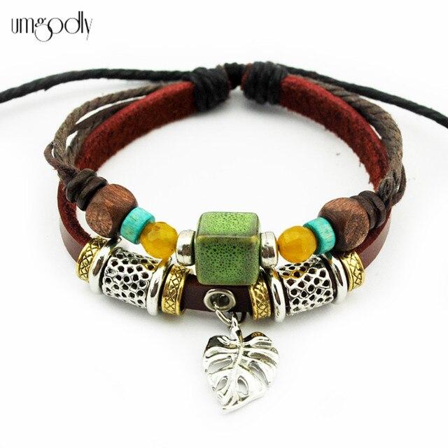 Umgodly 2018 Beautiful Green Square Bead Charm Leather Bracelet