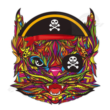 10pcs/lot Cat Pirate Patches Skull Parches Ropa A-Level Washable T-Shirt Diy Decoration 2018 New Heat Transfers For Clothing