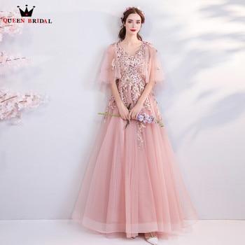2200da066186e5a Элегантные розовые вечерние платья 2019 Мода-Line кружевные цветы Тюль  Crsytal вышитое бисером вечернее платье, вечерний наряд CS63
