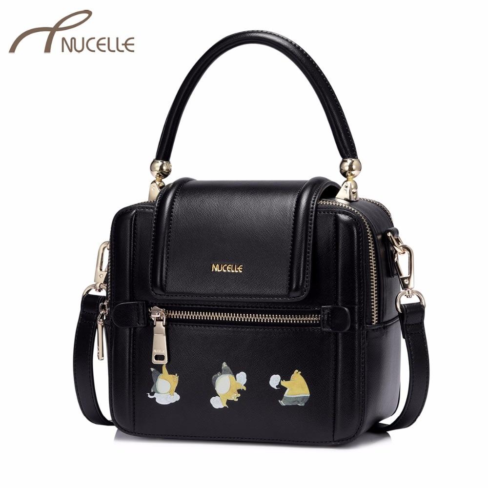 NUCELLE Women's PU Leather Handbags Ladies Fashion Messenger Tote Purse Female Leisure Cartoon Bean Printing Flap Crossbody Bags