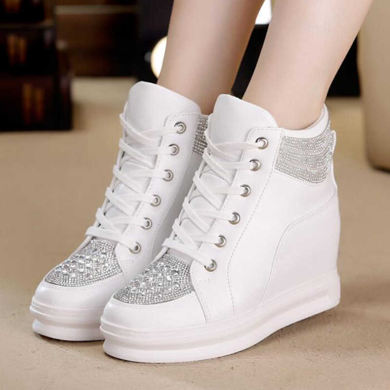 e877a82b6d COVOYYAR Rhinestone Women Sneakers 2019 New High Top Hidden Heel Casual  Shoes Lace Up High Quality Women White Shoes WSN683