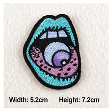 1PC Patches For Clothing Eyeball in Mouth Embroidery 5.2×7.2cm Patches For Apparel Bags DIY Accessories