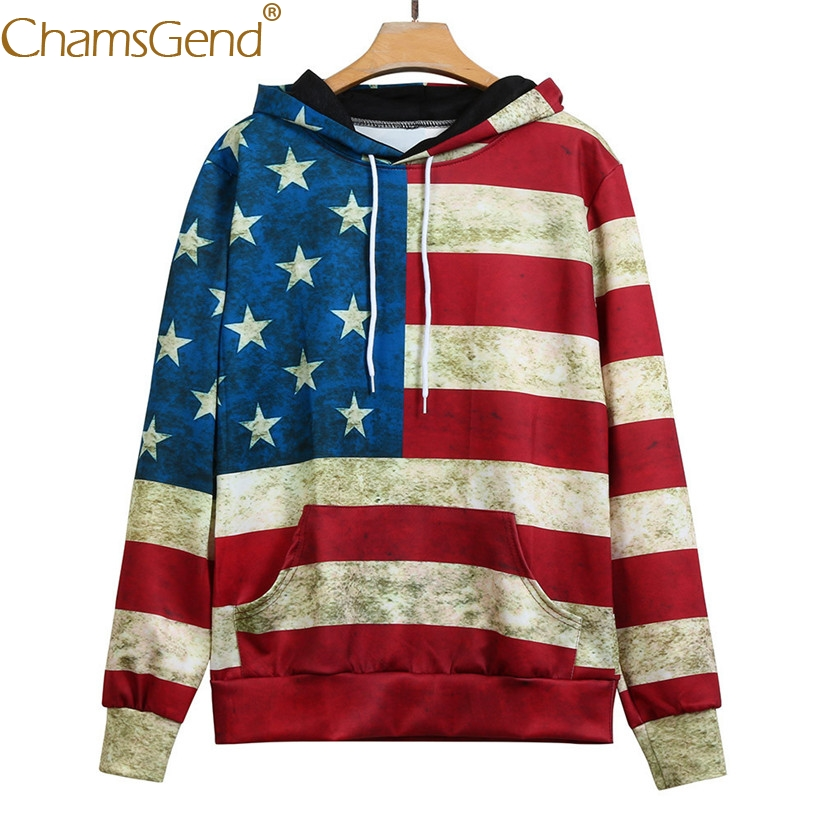 Chamsgend Hoodies Women Sweatshirts Retro Vintage American Flag Blouse Shirt Hoody Sweatshirt With Pocket 71221