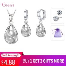 Exquisite Jewelry Sets For Women 925 Sterling Silver Princess Egg Pearl In Cage Wedding Hoop Earrings Necklace Buy 1 Get 2 Gifts(China)