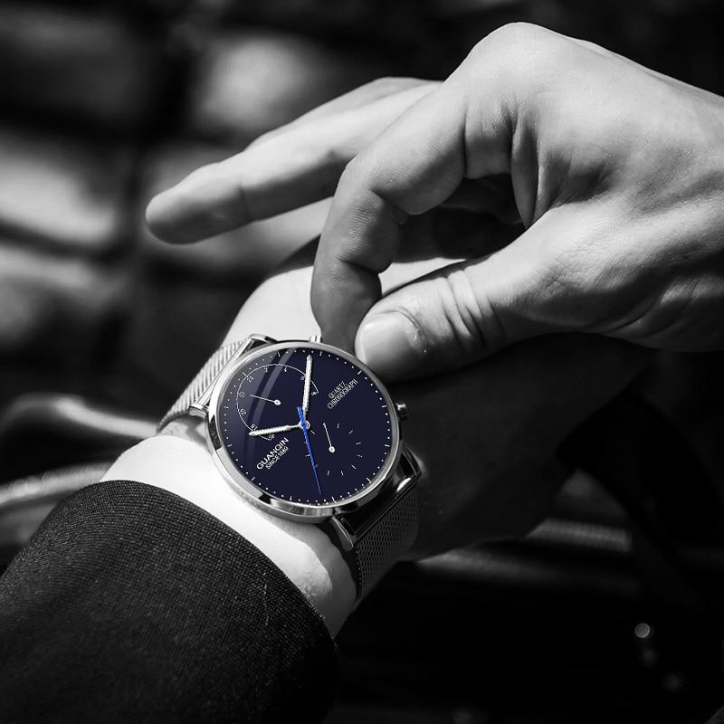 Image 4 - Relogio masculino GUANQIN 2018 Роскошные модные повседневные часы Топ бренд ультратонкие кварцевые часы мужские Часы Секундомер HD светящиеся-in Кварцевые часы from Ручные часы on AliExpress - 11.11_Double 11_Singles' Day