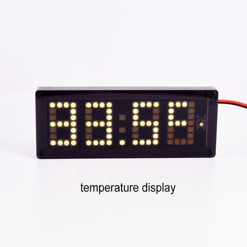 Timer Gehorsam Auto Led Dot Matrix Uhr Temperatur Spannung Display 4,0 ~ 25 V Multi-funktion 3in1 Zeit Thermometer Voltmeter Werkzeuge