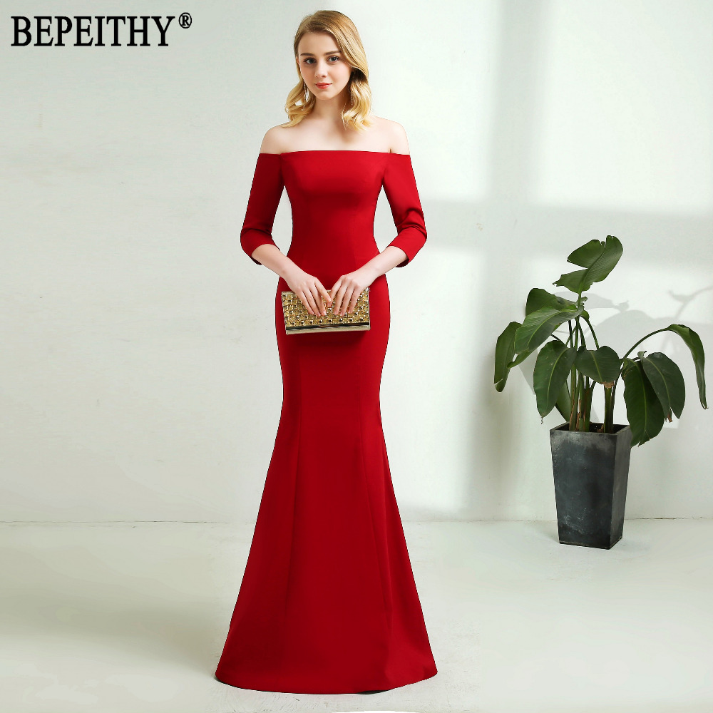 BEPEITHY New Arrival Elegant Vestido De Festa Longo Half Sleeve Boat Neck Red Lace Up Long Bridesmaid Dresses 2018