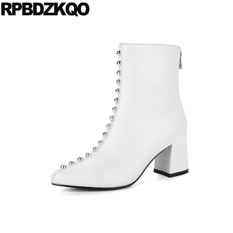 Suede Sheepskin Chunky High Heel Rivet White Boots Fashion Stud Ankle Pointed Toe Metal Fall Designer Shoes Women Luxury 2017