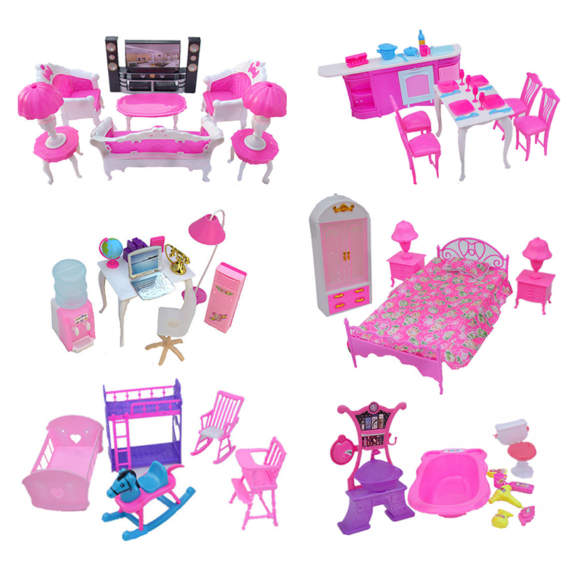 (Jimusuhutu) Doll Accessories Mini Furniture Super Combination Pretend Play Living Room HiFi-TV Toys for Barbie Dolls Girl Gift isudar car multimedia player automotivo gps autoradio 2 din for skoda octavia fabia rapid yeti superb vw seat car dvd player