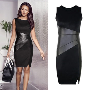 5XL Fall Plus Size Party Dress Women Faux Leather Splice OL Black Pencil Dress O Neck Sleeveless Elegant Slim Bodycon Dress 2019