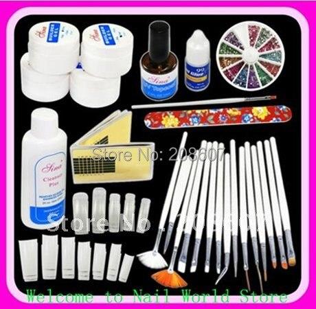 Freeshipping DIY Supplies Nail Art Professional UV GEL French NAIL KIT Acrylic SET & 15pcs Nail Art Pen /Brush Kit Manicure Tool