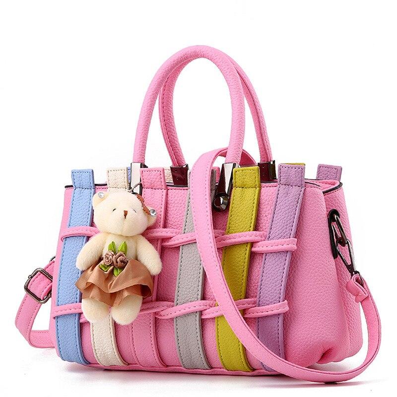 Fashion Pink PU Women Handbag Casual Shoulder Bag Crossbody Weave Decoration Zipper