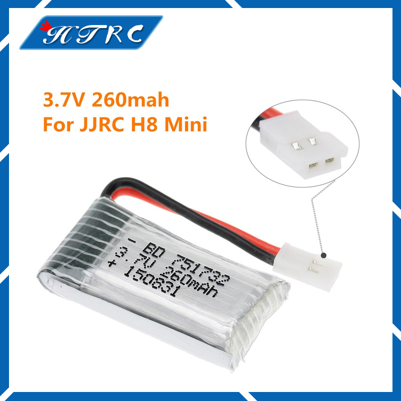 3PCS Hot Sale Eachine JJRC H8 Mini H8 3D Battery 3.7V 260mAh RC Quadcopter Spare Parts eachine h8 h8s 3d mini rc quadcopter spare parts 3 7v 150mah battery h8mini 003