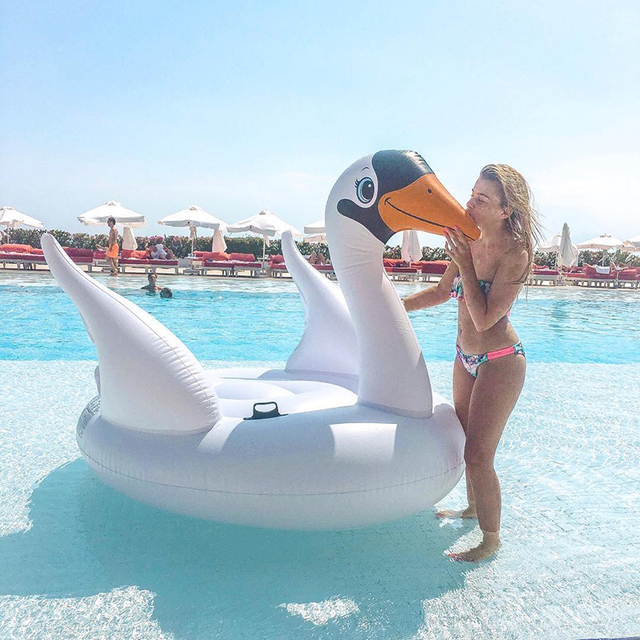 Giant Inflatable Swan Pool Floats Summer Outdoor Large Swan Float Raft Ride    On Swimming Lounger