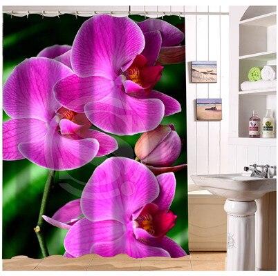 Élégant Couleur Orchidée Fleur Tissu Rideau De Douche Sur Mesure ...