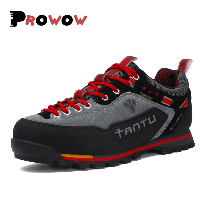Boots Men 2019 Male Sneakers Shoes Adult Boot Non-Slip Casual Footwear Outdoor Travel Hiking Boots Shoes Autumn Genuine Leather