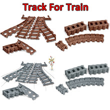 City Compatible legoings Trains Rails Flexible Track Railway model sets Forked Straight Curved Building Blocks Bricks DIY Toys(China)