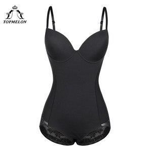 Image 1 - TOPMELON seksowna bielizna cienki jedwab stałe Shapewear dla kobiet gładkie miękkie body bielizna wyszczuplająca brzuch bielizna czarny Nude