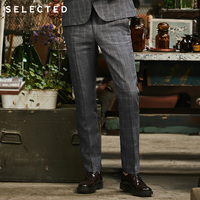 SELECTED Flax check business leisure slim suit pants S|418218506