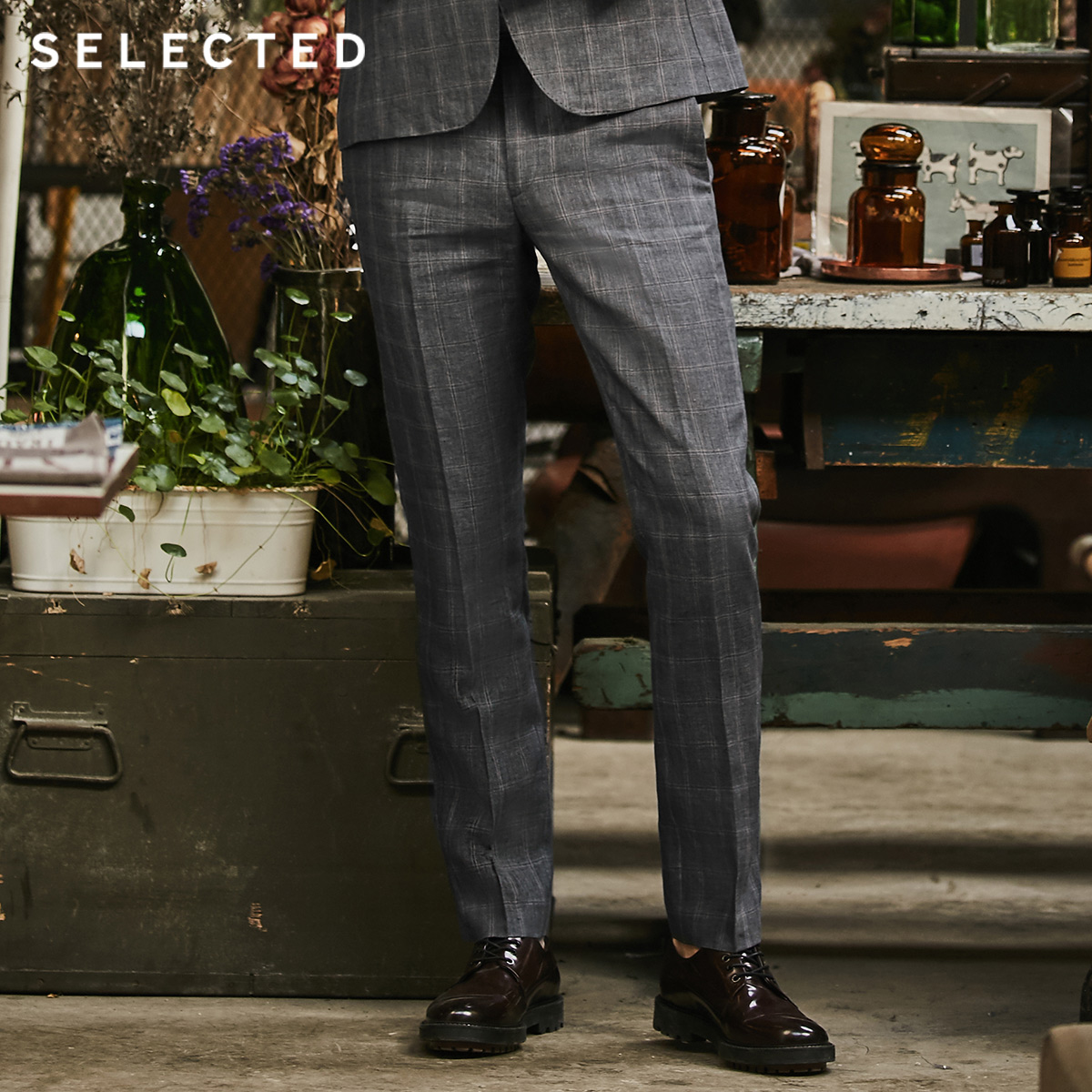 SELECTED Men's Flax Check Business Casual Leisure Slim Suit Pants S|418218506