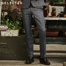 Geselecteerd Mannen Vlas Check Business Casual Leisure Slim Pak Broek S | 418218506(China)