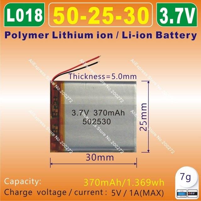 5pcs [L018] 3.7V,370mAH,[502530] PLIB;polymer lithium ion / Li-ion battery for model toy,mp3,mp4,phone,speaker,smart watch,GPS