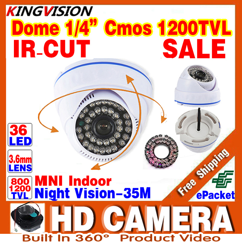 HotSale HD 1/3cmos 1200TVL INDOOR Dome Surveillance Security CCTV Analog mini Camera 36LED IR-CUT Night Vision 30m home Video free shipping sony ccd cctv camera 1200tvl ir cut filter security ir dome camera indoor home security night vision video camera