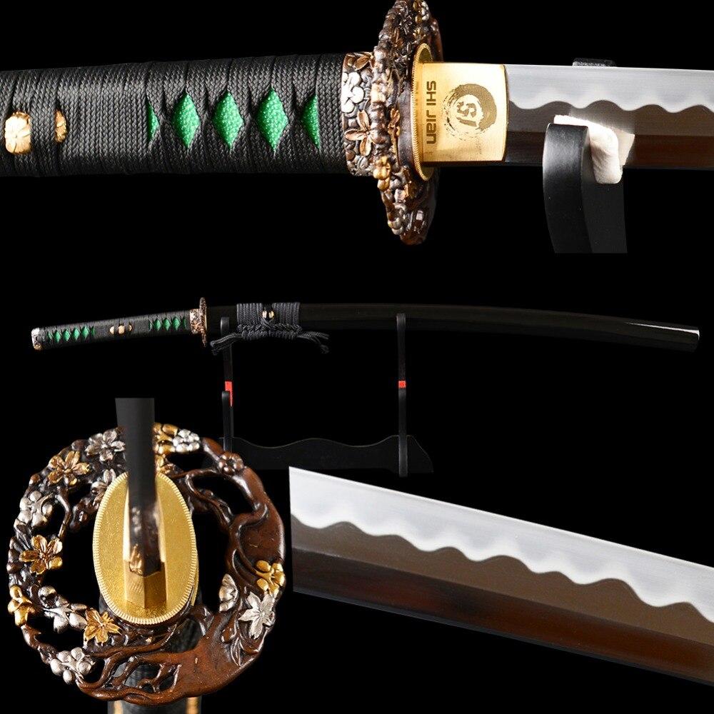 SJ Forgés À La Main Polissage Acier à Haut Carbone Clay Trempé Pleine Saveur formation Sharp Japonais Katana Samurai Sword