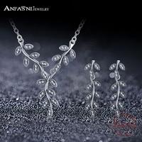 Anfasni real 925 sterling zilver fonkelende lange bladeren hanger ketting oorbellen sieraden sets originele merk bruiloft sieraden